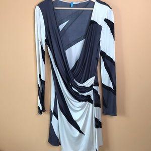 Emilio Pucci Geometric Dress Drape Gray White